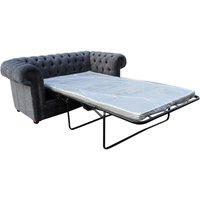 Chesterfield 2 Seater Settee Sofa Bed Flamenco Crush Slate Fabric