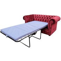Chesterfield 2 Seater Settee Sofa Bed Modena Pillarbox Red Velvet Fabric