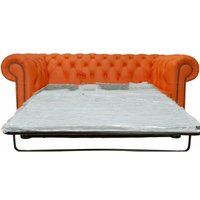 Chesterfield 2 Seater Settee Sofa Bed Orange Leather