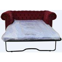 Chesterfield 2 Seater Settee Sofa Bed Pimlico Wine Fabric