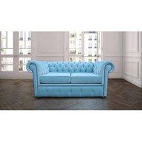 Designer Sofas 4 U - Chesterfield 2 Seater Settee Velluto Duck Egg Fabric Sofa Offer
