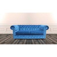 Designer Sofas 4 U - Chesterfield 2 Seater Settee Velluto Royal Blue Fabric Sofa Offer