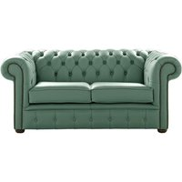 Chesterfield 2 Seater Shelly Lichen Leather Sofa Settee