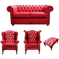 Designer Sofas 4 U - Chesterfield 2 Seater Sofa + 1 x Mallory Wing Chair + 1 x Queen Anne Chair + Footstool Old English Gamay Red Leather Sofa Offer