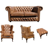 Designer Sofas 4 U - Chesterfield 2 Seater Sofa + 1 x Mallory Wing Chair + 1 x Queen Anne Chair + Footstool Old English Tan Leather Sofa Offer
