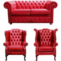 Chesterfield 2 Seater Sofa + 1 x Mallory Wing Chair + 1 x Queen Anne Chair Old English Gamay Red Leather Sofa Offer - DESIGNER SOFAS 4 U