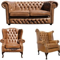 Designer Sofas 4 U - Chesterfield 2 Seater Sofa + 1 x Mallory Wing Chair + 1 x Queen Anne Chair Old English Tan Leather Sofa Offer