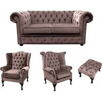 Designer Sofas 4 U - Chesterfield 2 Seater Sofa + 1 x Mallory Wing Chair + 1 x Queen Anne Wing Chair + Footstool Harmony Charcoal Velvet Sofa Suite