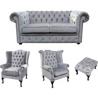 Chesterfield 2 Seater Sofa + 1 x Mallory Wing Chair + 1 x Queen Anne Wing Chair + Footstool Harmony Charcoal Velvet Sofa Suite Offer