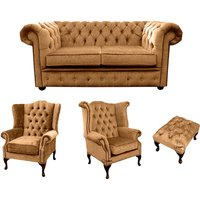 Designer Sofas 4 U - Chesterfield 2 Seater Sofa + 1 x Mallory Wing Chair + 1 x Queen Anne Wing Chair + Footstool Harmony Gold Velvet Sofa Suite Offer