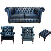 Designer Sofas 4 U - Chesterfield 2 Seater Sofa + 1 x Mallory Wing Chair + 1 x Queen Anne Wing Chair+footstool Leather Sofa Suite Offer Antique blue