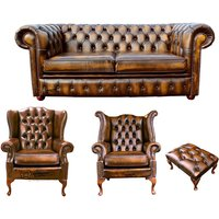 Chesterfield 2 Seater Sofa + 1 x Mallory Wing Chair + 1 x Queen Anne Wing Chair+footstool Leather Sofa Suite Offer Antique Gold