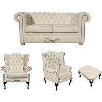 Chesterfield 2 Seater Sofa + 1 x Mallory Wing Chair + 1 x Queen Anne Wing Chair+footstool Leather Sofa Suite Offer Cottonseed Cream - DESIGNER SOFAS