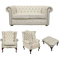 Designer Sofas 4 U - Chesterfield 2 Seater Sofa + 1 x Mallory Wing Chair + 1 x Queen Anne Wing Chair+footstool Leather Sofa Suite Offer Ivory