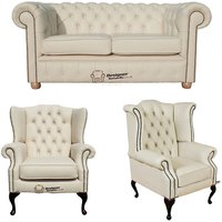 Chesterfield 2 Seater Sofa + 1 x Mallory Wing Chair + 1 x Queen Anne Wing Chair Leather Sofa Suite Offer Cottonseed Cream