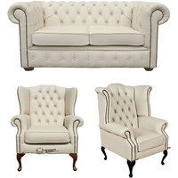 Chesterfield 2 Seater Sofa + 1 x Mallory Wing Chair + 1 x Queen Anne Wing Chair Leather Sofa Suite Offer Ivory