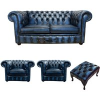 Chesterfield 2 Seater Sofa + 2 x Club Chairs + Footstool Leather Sofa Suite Offer Antique blue - DESIGNER SOFAS 4 U