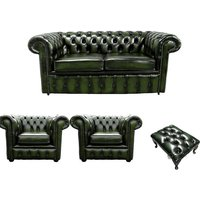 Chesterfield 2 Seater Sofa + 2 x Club Chairs + Footstool Leather Sofa Suite Offer Antique Green - DESIGNER SOFAS 4 U