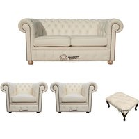 Chesterfield 2 Seater Sofa + 2 x Club Chairs + Footstool Leather Sofa Suite Offer Cottonseed Cream - DESIGNER SOFAS 4 U