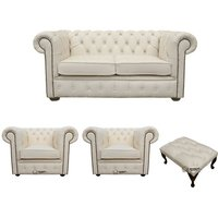 Chesterfield 2 Seater Sofa + 2 x Club Chairs + Footstool Leather Sofa Suite Offer Ivory - DESIGNER SOFAS 4 U