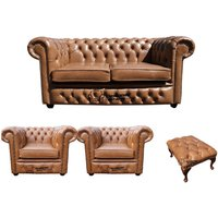Chesterfield 2 Seater Sofa + 2 x Club Chairs + Footstool Old English Tan Leather Sofa Offer - DESIGNER SOFAS 4 U