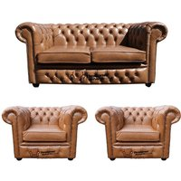 Designer Sofas 4 U - Chesterfield 2 Seater Sofa + 2 x Club Chairs Old English Tan Leather Sofa Offer