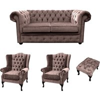 Designer Sofas 4 U - Chesterfield 2 Seater Sofa + 2 x Mallory Wing Chair + Footstool Harmony Charcoal Velvet Sofa Suite Offer