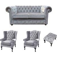 Designer Sofas 4 U - Chesterfield 2 Seater Sofa + 2 x Mallory Wing Chair + Footstool Harmony Dusk Velvet Sofa Suite Offer
