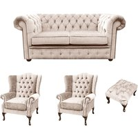 Designer Sofas 4 U - Chesterfield 2 Seater Sofa + 2 x Mallory Wing Chair + Footstool Harmony Ivory Velvet Sofa Suite Offer