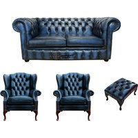 Designer Sofas 4 U - Chesterfield 2 Seater Sofa + 2 x Mallory Wing Chair + Footstool Leather Sofa Suite Offer Antique Blue
