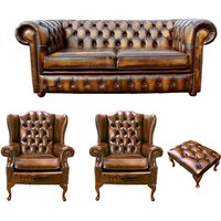 Designer Sofas 4 U - Chesterfield 2 Seater Sofa + 2 x Mallory Wing Chair + Footstool Leather Sofa Suite Offer Antique Gold