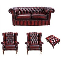 Chesterfield 2 Seater Sofa + 2 x Mallory Wing Chair + Footstool Leather Sofa Suite Offer Antique Oxblood