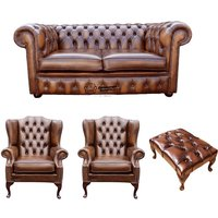 Chesterfield 2 Seater Sofa + 2 x Mallory Wing Chair + Footstool Leather Sofa Suite Offer Antique Tan