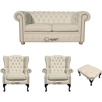 Chesterfield 2 Seater Sofa + 2 x Mallory Wing Chair + Footstool Leather Sofa Suite Offer Cottonseed Cream - DESIGNER SOFAS 4 U