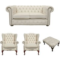 Designer Sofas 4 U - Chesterfield 2 Seater Sofa + 2 x Mallory Wing Chair + Footstool Leather Sofa Suite Offer Ivory