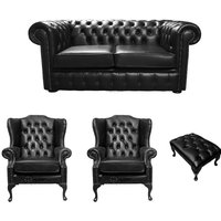Chesterfield 2 Seater Sofa + 2 x Mallory Wing Chairs + Footstool Old English Black Leather Sofa Offer - DESIGNER SOFAS 4 U