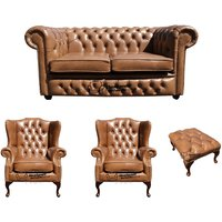 Chesterfield 2 Seater Sofa + 2 x Mallory Wing Chairs + Footstool Old English Tan Leather Sofa Offer - DESIGNER SOFAS 4 U