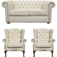Chesterfield 2 Seater Sofa + 2 x Mallory Wing Chairs Leather Sofa Suite Offer Ivory - DESIGNER SOFAS 4 U