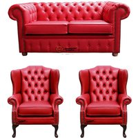 Chesterfield 2 Seater Sofa + 2 x Mallory Wing Chairs Old English Gamay Red Leather Sofa Offer - DESIGNER SOFAS 4 U