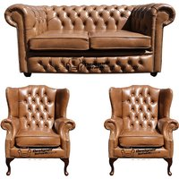 Designer Sofas 4 U - Chesterfield 2 Seater Sofa + 2 x Mallory Wing Chairs Old English Tan Leather Sofa Offer