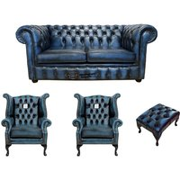 Chesterfield 2 Seater Sofa + 2 x Queen anne Chairs+footstool Leather Sofa Suite Offer Antique blue - DESIGNER SOFAS 4 U