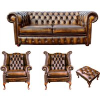 Chesterfield 2 Seater Sofa + 2 x Queen anne Chairs+footstool Leather Sofa Suite Offer Antique Gold - DESIGNER SOFAS 4 U