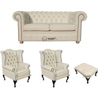 Chesterfield 2 Seater Sofa + 2 x Queen anne Chairs+footstool Leather Sofa Suite Offer Cottonseed Cream - DESIGNER SOFAS 4 U