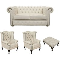 Chesterfield 2 Seater Sofa + 2 x Queen anne Chairs+footstool Leather Sofa Suite Offer Ivory - DESIGNER SOFAS 4 U