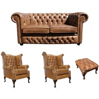 Chesterfield 2 Seater Sofa + 2 x Queen Anne Chairs + Footstool Old English Tan Leather Sofa Offer - DESIGNER SOFAS 4 U