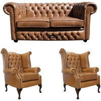 Designer Sofas 4 U - Chesterfield 2 Seater Sofa + 2 x Queen Anne Chairs Old English Tan Leather Sofa Offer