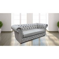Designer Sofas 4 U - Chesterfield 2 Seater Sofa Bed CRYSTALLIZED™ Diamond Moon Mist Leather Offer