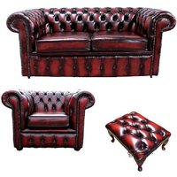 Chesterfield 2 Seater Sofa + Club Chair + Footstool Leather Sofa Suite Offer Antique Oxblood
