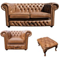 Designer Sofas 4 U - Chesterfield 2 Seater Sofa + Club Chair + Footstool Old English Tan Leather Sofa Offer