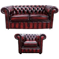 Chesterfield 2 Seater Sofa + Club Chair Leather Sofa Suite Offer Antique Oxblood
